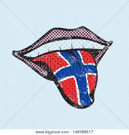 Norwegian language learning. Study Norwegian icon for dictionary, translator. Flag of Norway, Oslo for language speaking on tongue