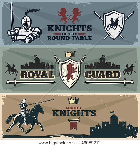 Knights banners set with heraldry ancient castles armed horsemen on worn textural background isolated vector illustration