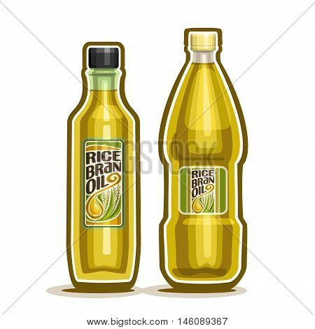 Vector logo 2 yellow plastic and glass Bottle with pure Rice Bran Oil and label, bottles refined virgin cooking oil, cartoon container with natural organic liquid with cap, closeup isolated on white
