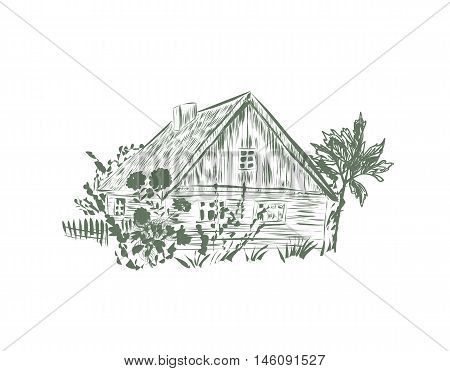 House in the village. Sketch vector House