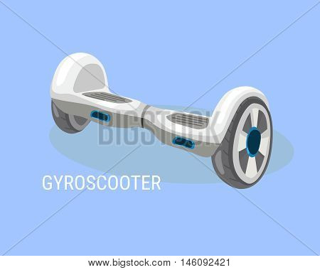Hoverboard, Gyroboard or Gyroscooter. Electrical self-balancing scooter. Alternative Eco Transport vehicle isolated on a blue background. Vector illustration