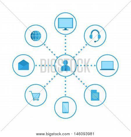 Vector graphics, flat icons. Digital Marketing Illustration