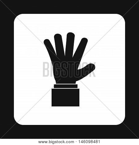 Hand showing five fingers icon in simple style on a white background vector illustration