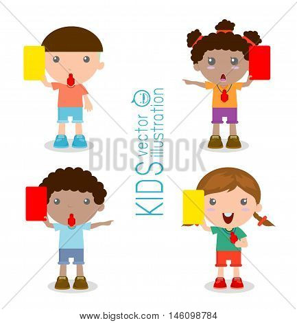 illustration of kids Soccer referees holding red and yellow card , Vector illustration, on white background
