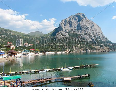 View on city Sudak from Genoese fortress, Crimea.