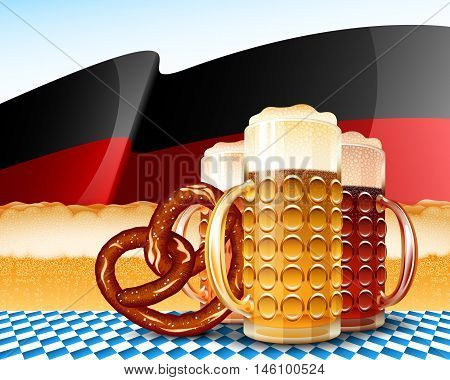 Beer glasses and pretzel; Concept design for the Oktoberfest; German flag with yellow strip from foamy beer; Varieties of Beer - Light Red Dark; Vector background Eps10