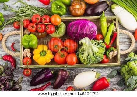 Set Of Vegetables In The Tray