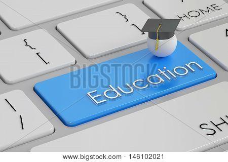 education button blue key on keyboard. 3D rendering