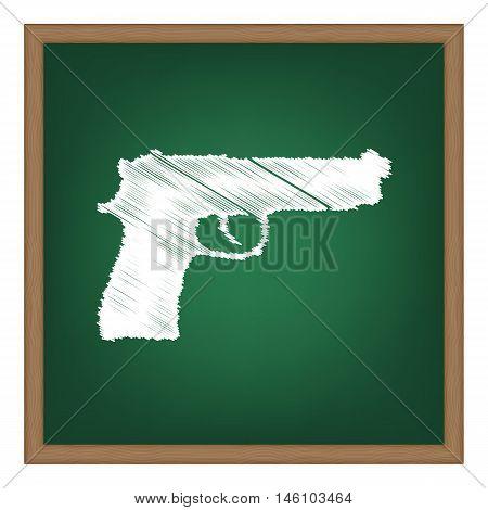 Gun Sign Illustration. White Chalk Effect On Green School Board.