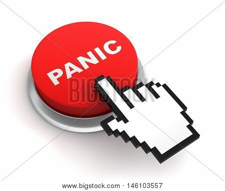panic button 3d illustration isolated on white background