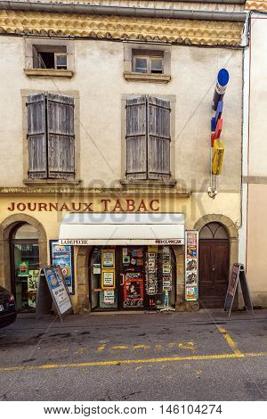 Carcassonne, France - April 1, 2011: Vintage Street Shop With Magazines And Tobaco