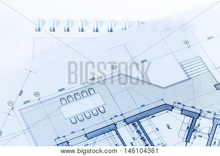 architecture blueprint -  house plan & notepad