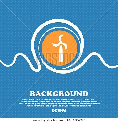 Windmill Icon Sign. Blue And White Abstract Background Flecked With Space For Text And Your Design.