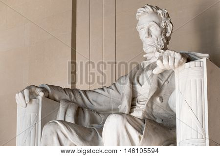Statue of Abraham Lincoln at the Lincoln Memorial in Washington D.C.