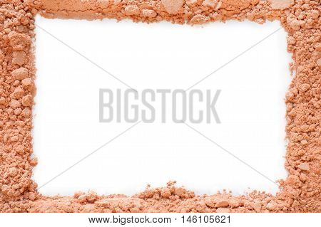 Crushed powder frame with white copy space