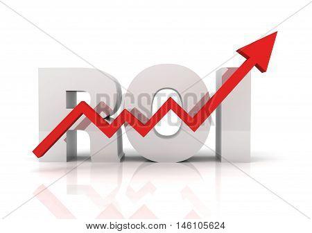 return on investment roi 3d illustration isolated on white background