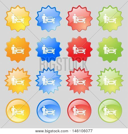 Person Up Hailing A Taxi Icon Sign. Big Set Of 16 Colorful Modern Buttons For Your Design. Vector