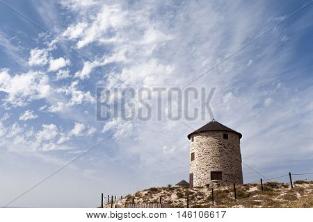 Ancient windmill at Esposende, north of Portugal