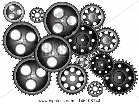 gear many different gears dark  - Stock illustration