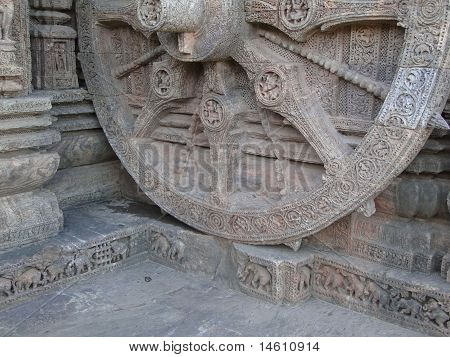 Huge chariot wheel at the base of Konarak Temple OrissaIndia Asia poster