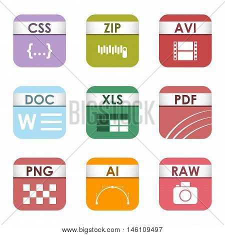 Simple vector square file types and formats labels icon set. File type format icons presentation document symbol. Audio extension file type icons graphic multimedia sign application software folder.