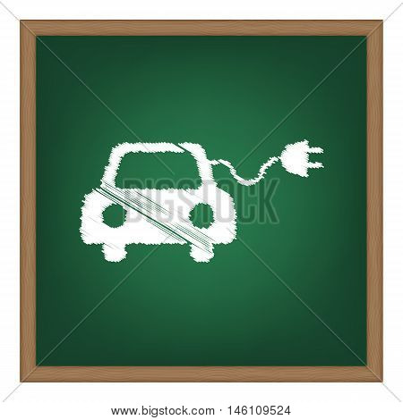 Eco Electric Car Sign. White Chalk Effect On Green School Board.