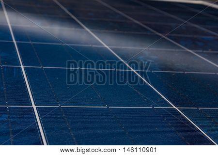 Solar Panel Blue Texture Close Detail Energy Renewable Device Installation