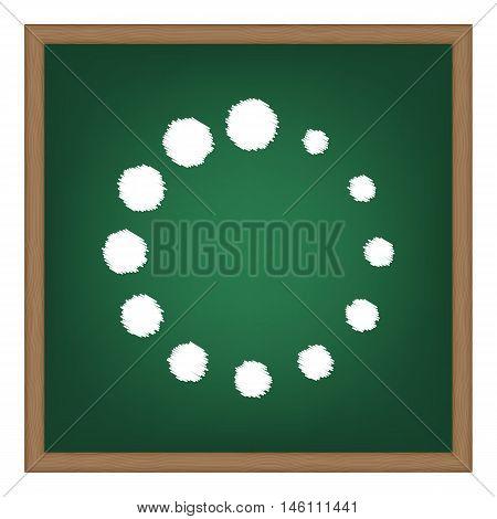 Circular Loading Sign. White Chalk Effect On Green School Board.