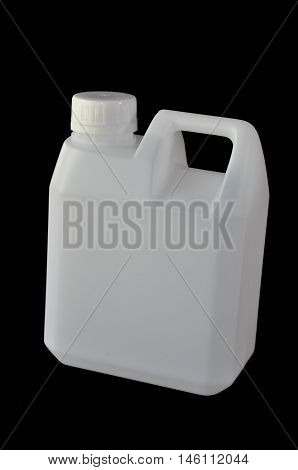 Square white plastic water gallon with handle on the top