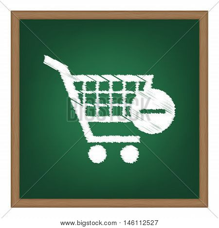 Vector Shopping Cart With Remove Sign. White Chalk Effect On Green School Board.