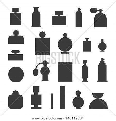 Vector perfume fashion container template blank. Vector illustration perfume bottle symbol elegant merchandise gift. Beauty liquid luxury aroma perfume bottle template.