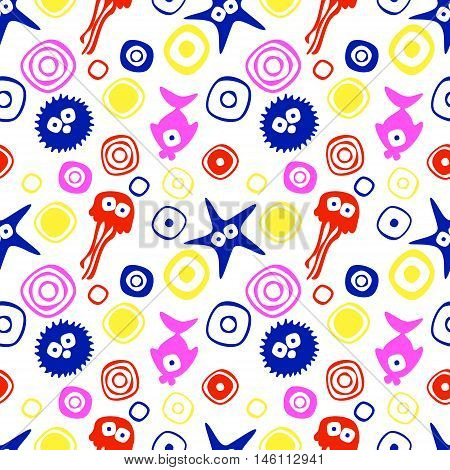 Vector seamless decorative pattern with hand drawn fish starfish octopus. Endless colorful background. Template for wrapping fabric cover. Series of hand drawn decorative seamless patterns.