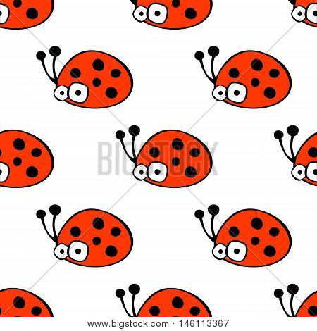 Seamless vector pattern with insect. Cute hand drawn endless background with childish ladybugs. Series of childish seamless patterns wrapping cover fabric.