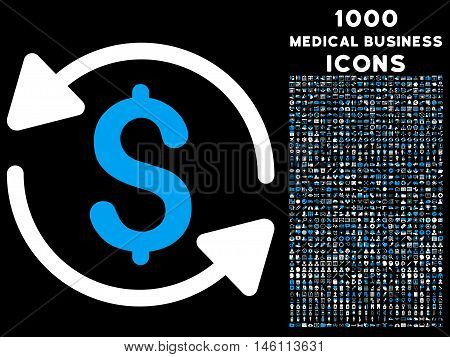 Money Turnover raster bicolor icon with 1000 medical business icons. Set style is flat pictograms, blue and white colors, black background.
