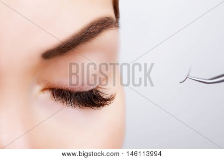 Woman Eye with Long Eyelashes. Eyelash Extension. Lashes. Close up, selected focus