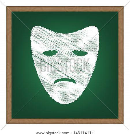Tragedy Theatrical Masks. White Chalk Effect On Green School Board.