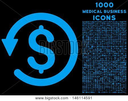 Chargeback raster icon with 1000 medical business icons. Set style is flat pictograms, blue color, black background.