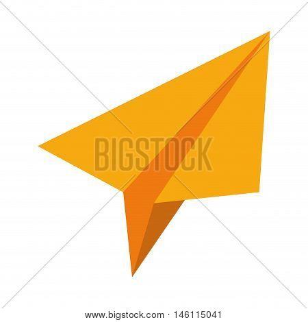 yellow paperplane fly plane creative icon. vector illustration