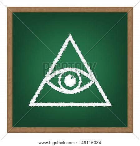 All Seeing Eye Pyramid Symbol. Freemason And Spiritual. White Chalk Effect On Green School Board.