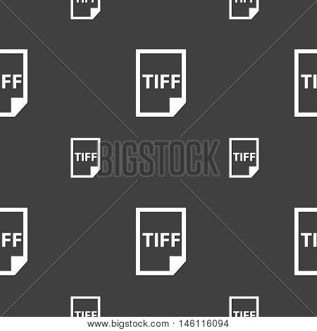 Tiff Icon. Sign. Seamless Pattern On A Gray Background. Vector