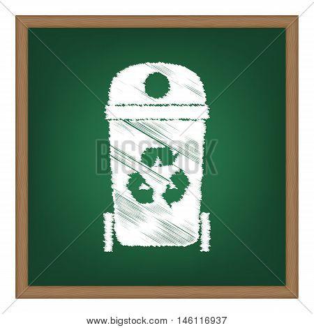 Trashcan Sign Illustration. White Chalk Effect On Green School Board.