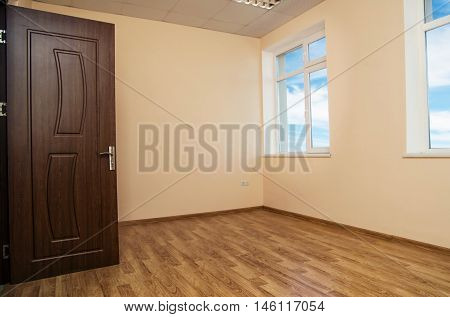 simple empty house room with the windows
