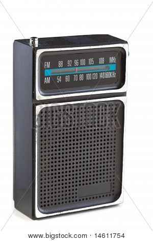 Vintage Black Plastic Radio Chrome Isolated White Background