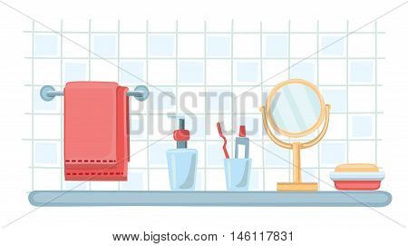 Vector illustration of toiletries. Acseesories an cosmetic bottles template set. Mirror, soap, toothbrush, toothpaste, dispenser, bathing towel