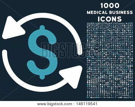 Money Turnover raster bicolor icon with 1000 medical business icons. Set style is flat pictograms, blue and white colors, dark blue background.