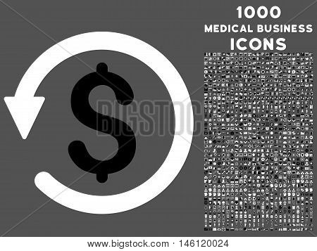 Chargeback raster bicolor icon with 1000 medical business icons. Set style is flat pictograms, black and white colors, gray background.