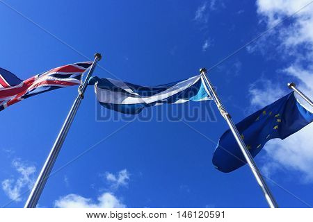 European Union EU, United Kindgom UK and Scotland flags - Brexit , Independence