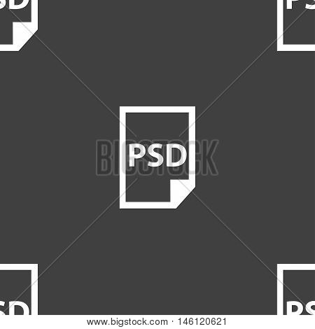 Psd Icon Sign. Seamless Pattern On A Gray Background. Vector
