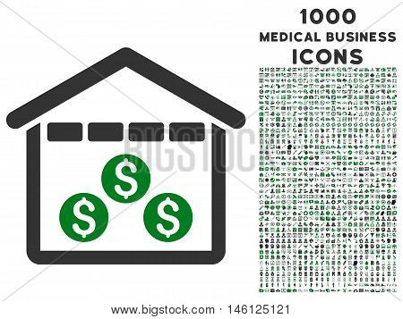 Money Depository raster bicolor icon with 1000 medical business icons. Set style is flat pictograms, green and gray colors, white background.