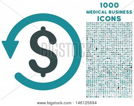 Chargeback raster bicolor icon with 1000 medical business icons. Set style is flat pictograms, soft blue colors, white background.